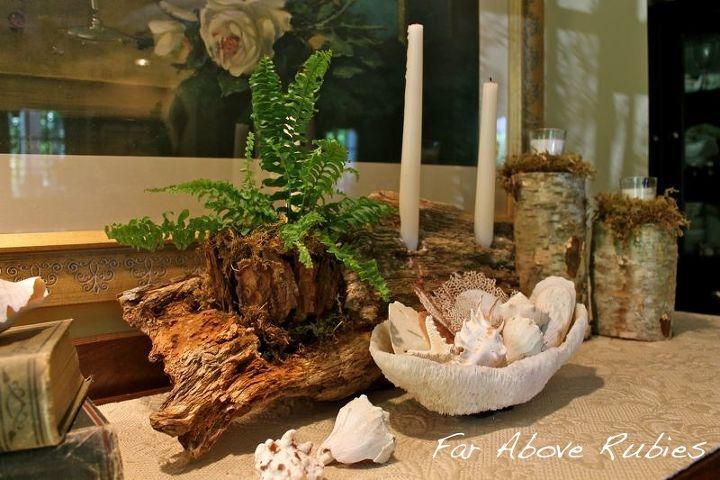 driftwood candleholder planter, home decor
