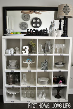 pottery barn knock off using ikea expedit storage unit, storage ideas