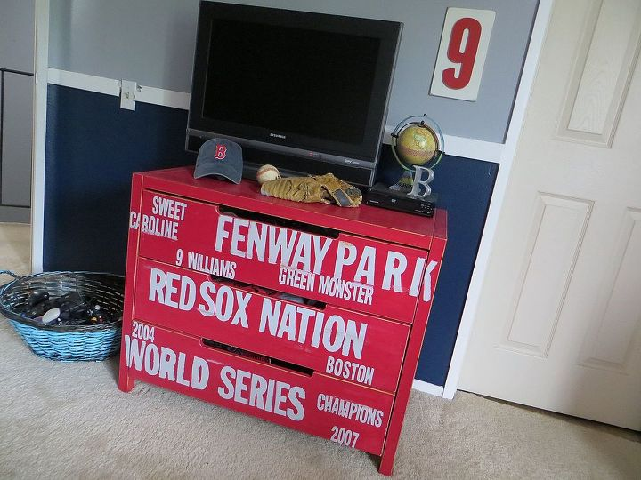 The lettering overlaps the drawer ends for  more authenticity #subway #dresser #ikeahack #redsox