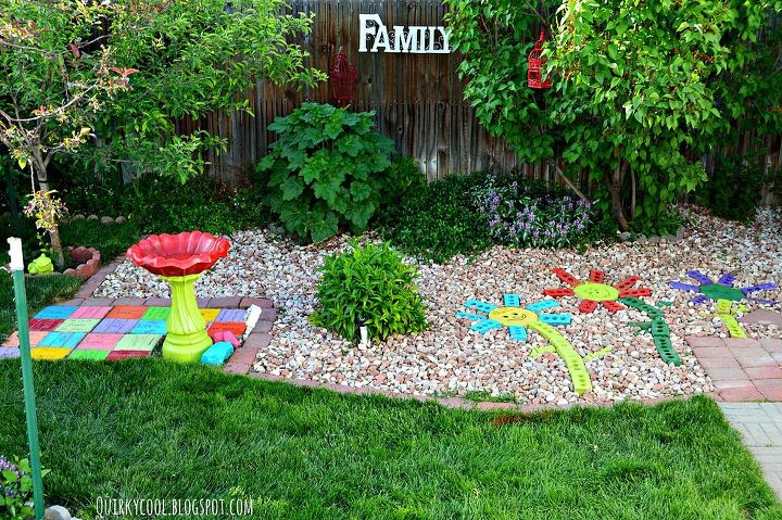 recycled bricks from an old fireplace turned into colorful yard art, landscape, outdoor living, repurposing upcycling