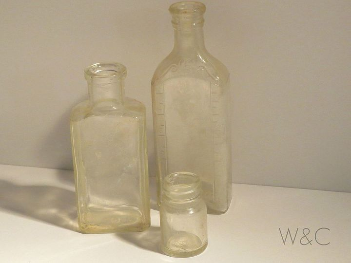 vintage valentines day bottles, crafts, repurposing upcycling, seasonal holiday decor, valentines day ideas, I started out with some vintage glass bottles that had to be cleaned up