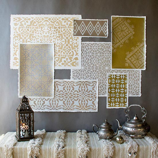 A beautiful array of Moroccan Stencils painted in luxurious Metallic Stencil Cremes http://www.royaldesignstudio.com/blogs/how-to-stencil/8384153-stencil-how-to-metallic-moroccan-stencils