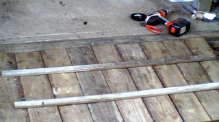 i need a step up, patio, Salvaged deck wood planks screwed together with pressure treated rails