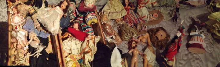 q how do you care for old dolls parts clothes, crafts, Look at all of these There are 2 nuns too