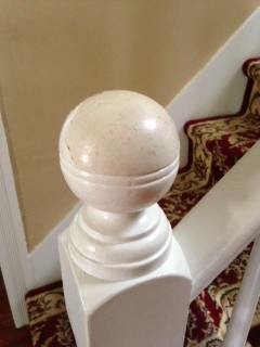 need ideas for painting staircase knobs, painting, stairs, See where the top of the knob is missing the white layer of paint