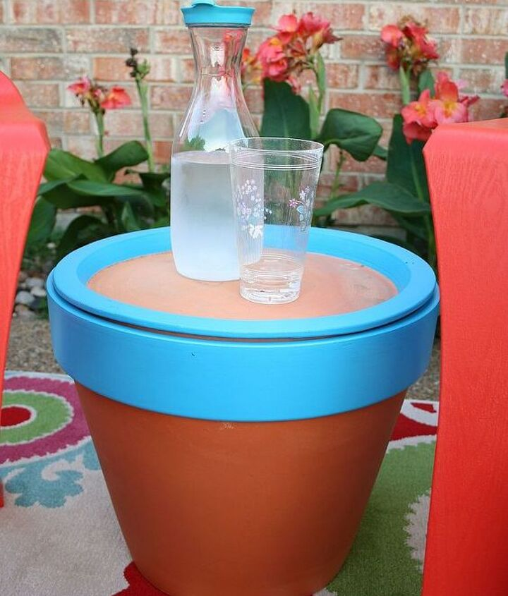 a terracotta pot table, crafts, outdoor furniture, outdoor living, painted furniture, repurposing upcycling