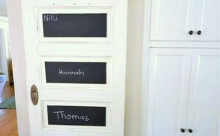 diy old door and chalkboard paint, chalkboard paint, crafts, home decor, painting, repurposing upcycling, Give each member of the family their own section