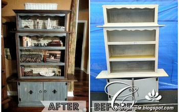 trash to treasure hutch transformation, painted furniture, Before and After