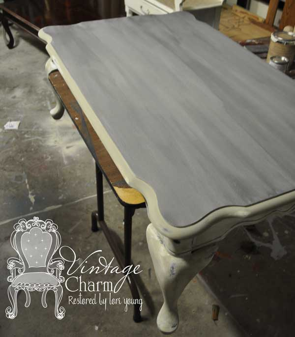Weathered Grey Coffee Table Painted Furniture Shabby Chic Stained Top Over The Magnolia