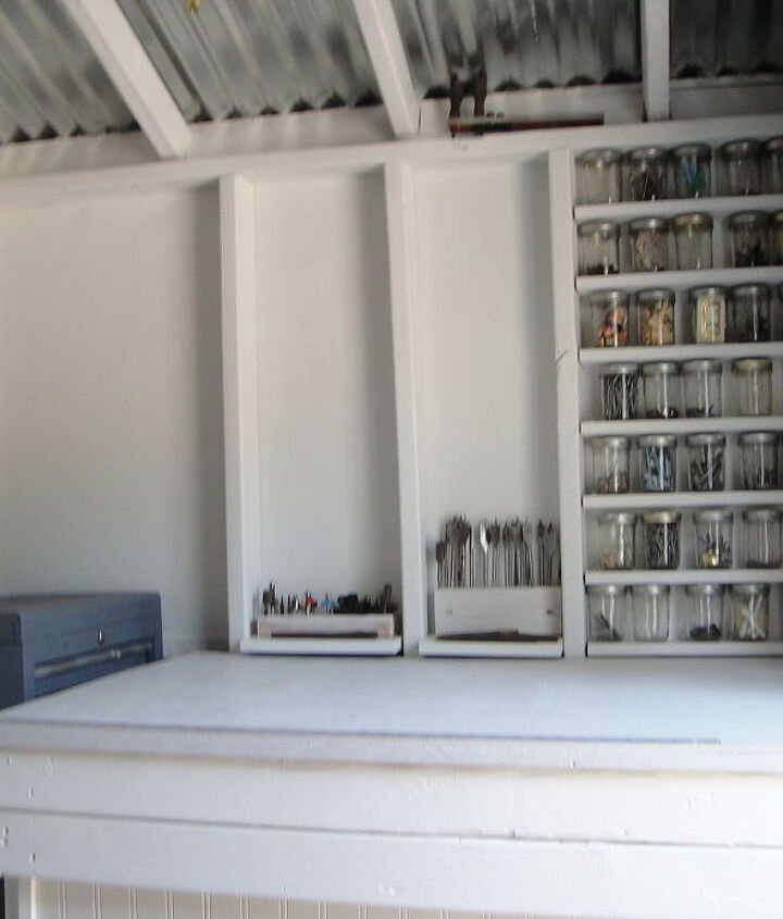 """The south wall, with one work table """"inside"""" the other."""