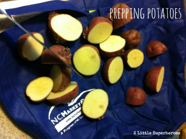 Cut up potatoes and let sit out for 2 days (this prevents disease once planted).