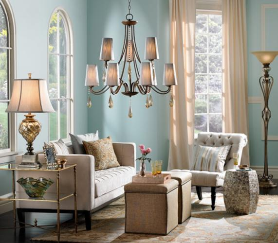 The soft color palette of this inspiration room is very casual and inviting. This is the kind of color palette to which I am most drawn.  Room by Lamps Plus