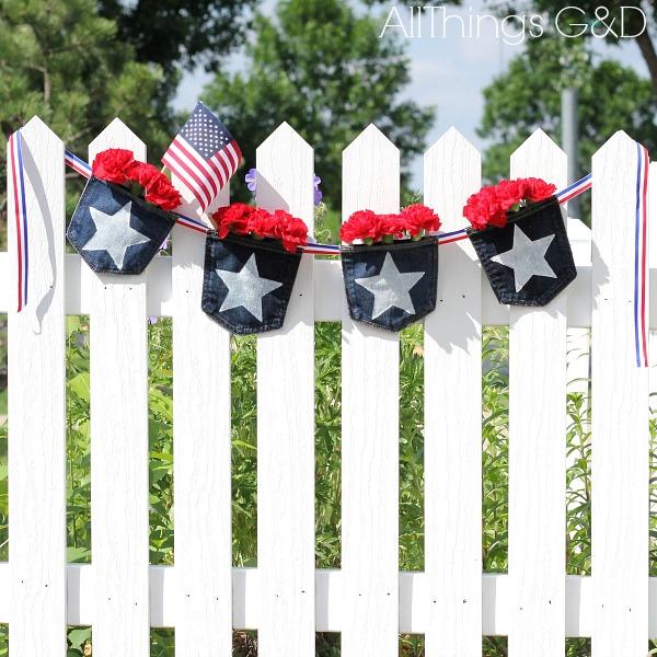 patriotic denim pocket bunting, crafts, outdoor living, patriotic decor ideas, repurposing upcycling, seasonal holiday decor