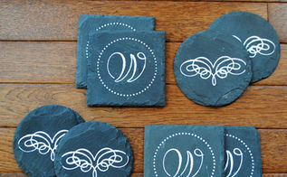 make some faux chalk art coasters, chalk paint, crafts, That s it Cute right I think they would make a great gift Stop by my blog for the links to the supplies