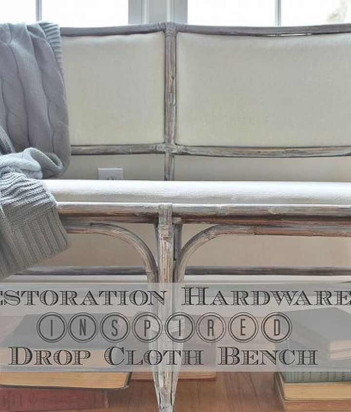 A dark bench was transformed with a little paint &  $5 drop cloth.