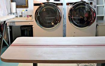 Grain Sack Striped Laundry Room Folding Table