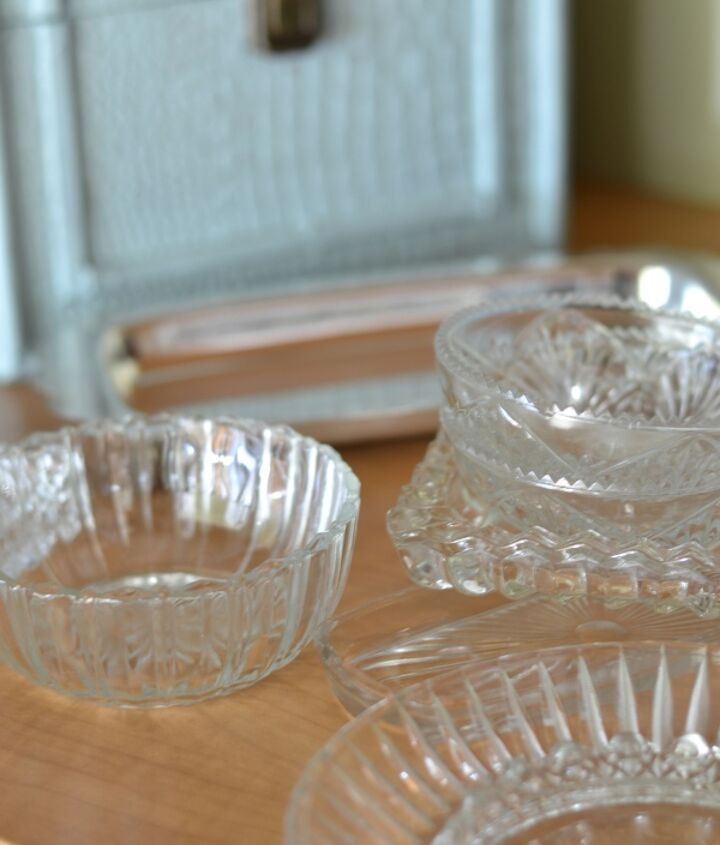 These small, clear dishes were a great flea market find. They were each $.50 or less!