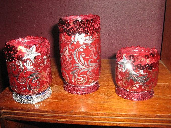 tea candle holders from baby food jars, crafts, repurposing upcycling