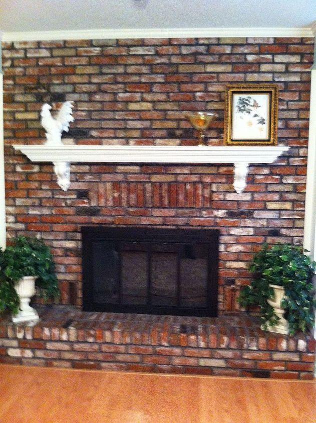 q massive brick fireplace, concrete masonry, fireplaces mantels, home decor, living room ideas