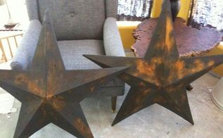 rusting metal pieces, painted furniture, Stars complete
