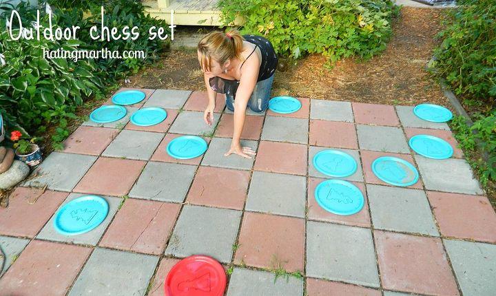 outdoor giant chess set, concrete masonry, outdoor living, patio