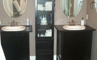 master bath overhaul on the cheap, bathroom ideas, doors, home decor, Target cabinet painted black to match the cabinets hubby built