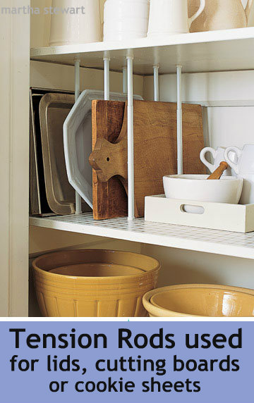 use tension rods to store your items in your cabinets (visit the website for more tips like this)