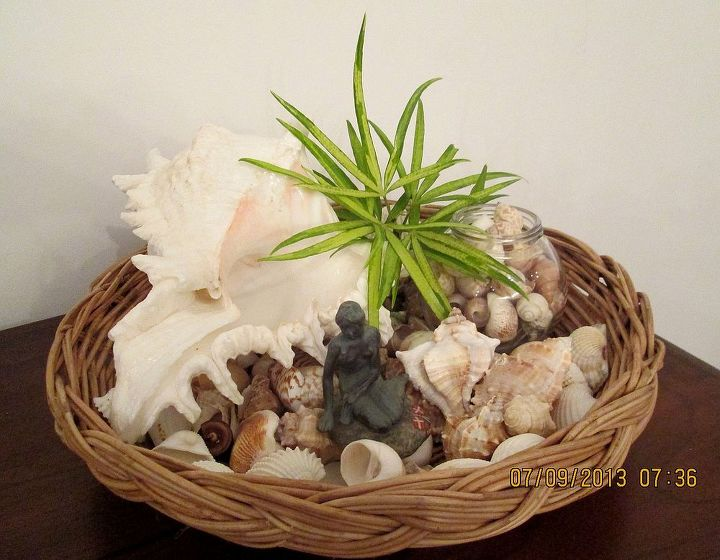 seashell decor in a basket inspired by the posts on hometalk, crafts