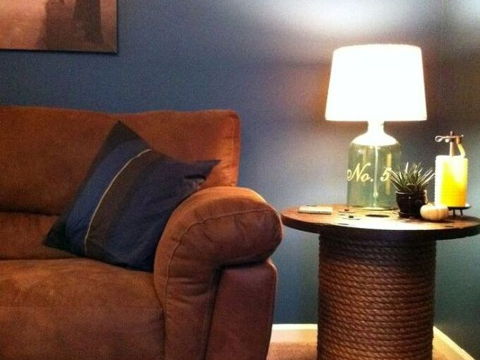diy spool side table, painted furniture, repurposing upcycling, Love my new side table
