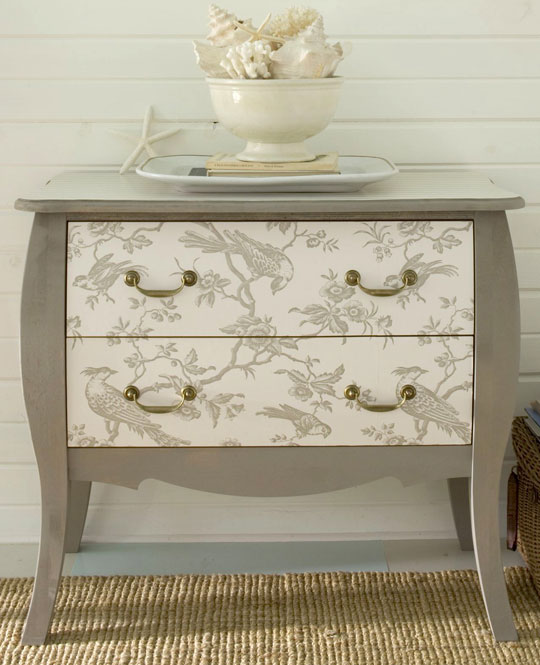 Add some decorative graphics to the front of a dresser!