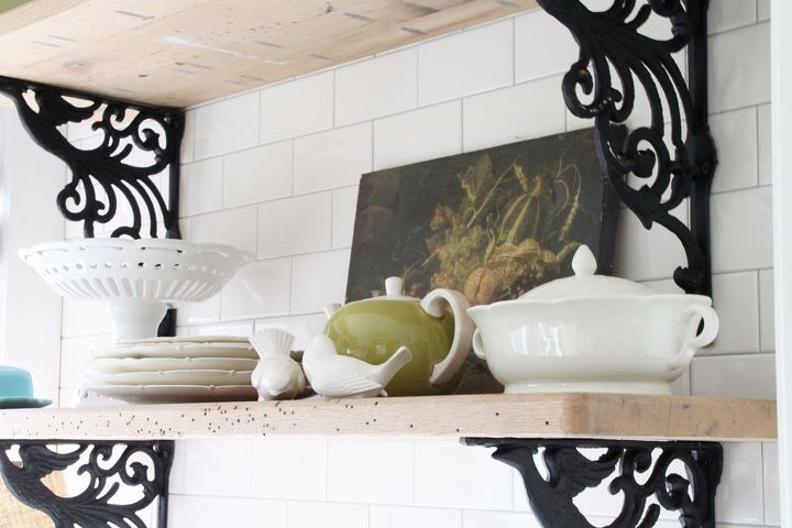 Rustic shelves add a personal touch.