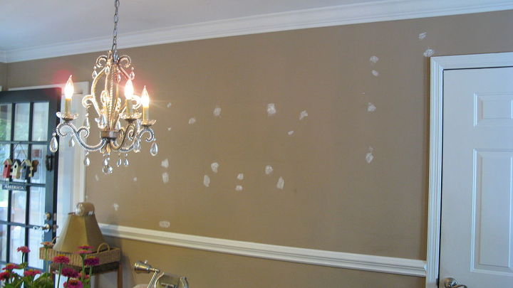This is the wall in the dining area prepared for paint.