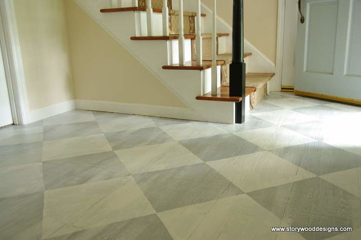 Painted Old Hardwood Floors In A Whitewashed Checkerboard