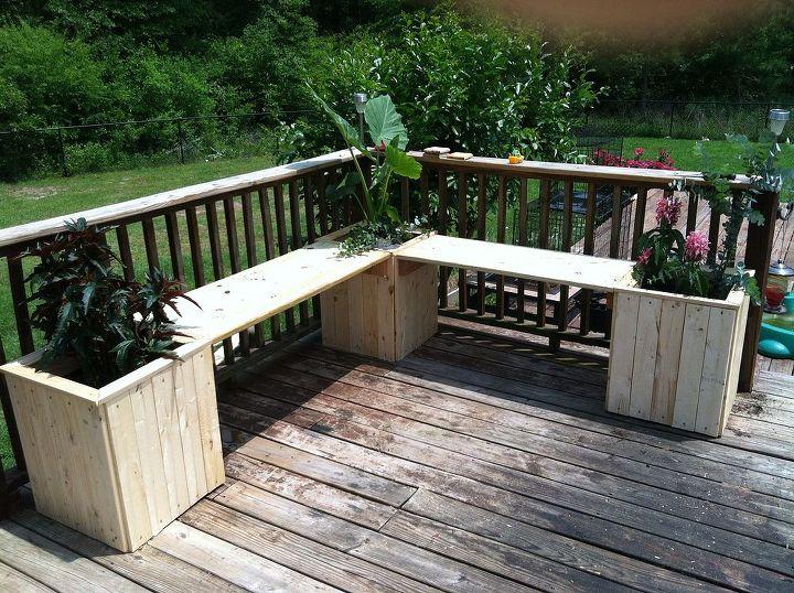 planter bench, decks, diy, gardening, woodworking projects