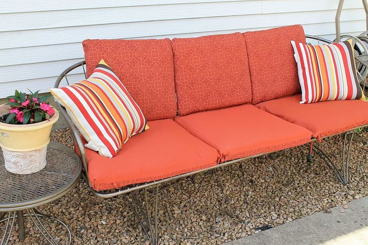 refurbished vintage patio couch, painted furniture, reupholster
