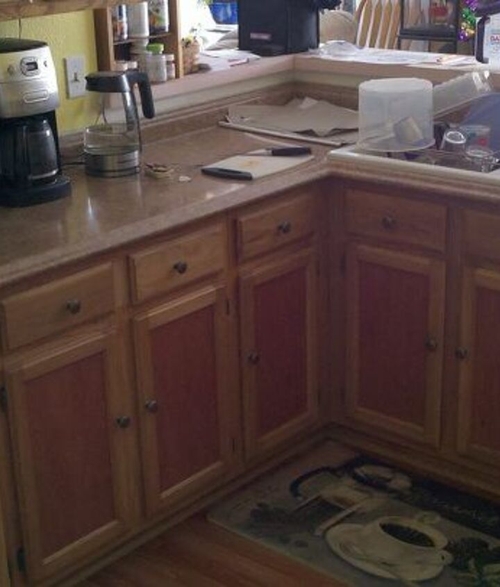 The lower cabinets...
