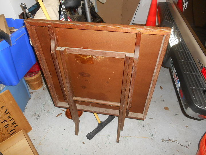 old card table faded warped stained and mildewy, painted furniture, Edges legs finish in maple stain