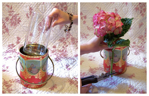 Use the height of the tin to help you gage the proper length for each of the flower stems.