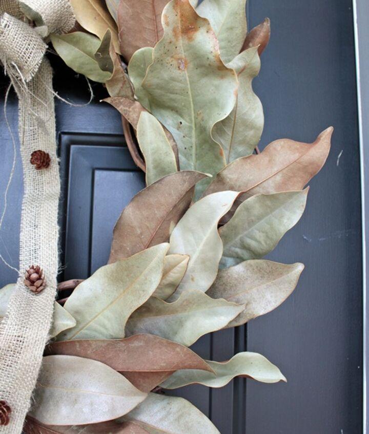 magnolia leaves and burlap