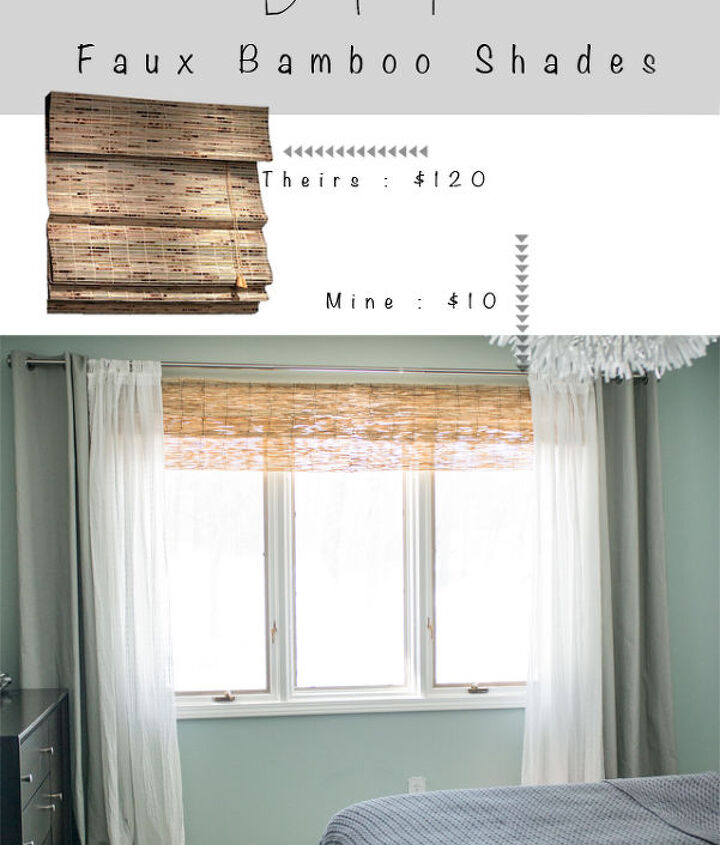 diy bamboo blinds out of outdoor fencing, diy, home decor, repurposing upcycling, window treatments, windows, Layer your curtains over the faux bamboo shades and enjoy