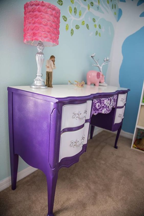 Solid wood French Provincial Dresser, painted from top to bottom. I also added some glitter paint to give it an extra girly flare.