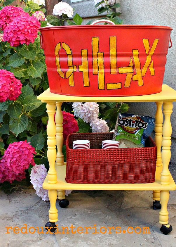 diy drink and bar cart perfect for entertaining outside, outdoor furniture, outdoor living, painted furniture, repurposing upcycling