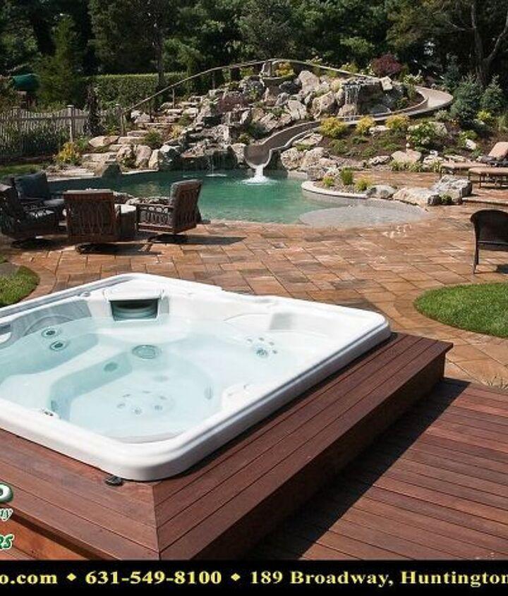 Mahogany deck with built in Bullfrog Spa