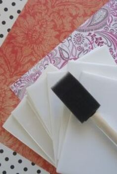 diy tile coasters easy and cheap, crafts, decoupage, You will need ceramic tiles scrapbook paper Mod Podge and a spray acrylic sealer