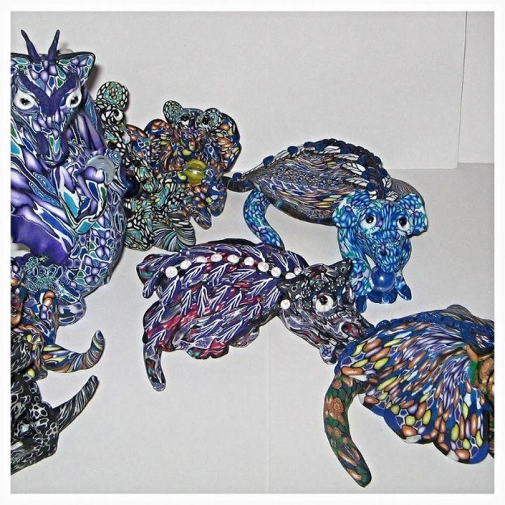fimo dragons, crafts, home decor