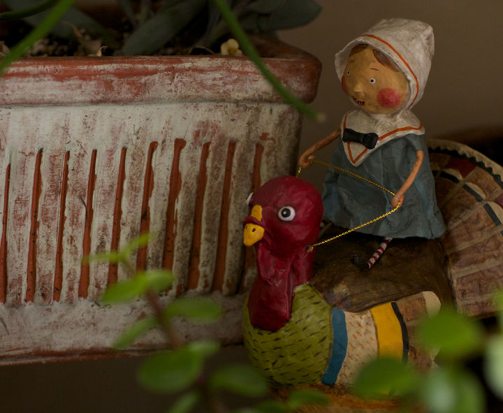 Pilgrim girl rides her turkey in my succulent garden.