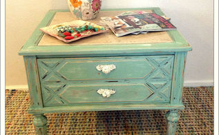 beach cottage inspired side table, painted furniture, shabby chic, After