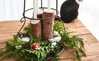 from firewood to christmas log candle centrepiece, christmas decorations, repurposing upcycling, seasonal holiday decor, This centrepiece is all ready to be centre stage to a Christmas feast