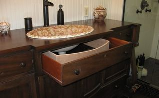 wrap around customized drawer for antique turned into vanity, painted furniture