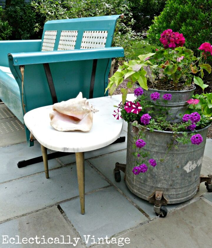 My patio - mixing old and new for a one of a kind outdoor place to sip a mojito! http://eclecticallyvintage.com/2012/06/my-patio-reveal/